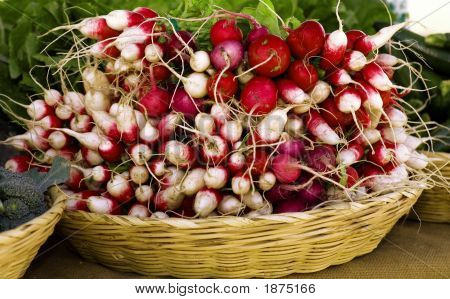 Radishes At Outdoor Market