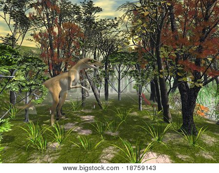 fantasy forest with predator dino hunting