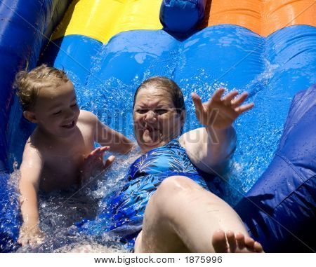 Laughing On Water Slide