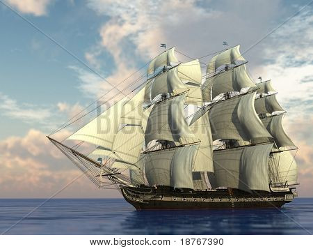 ship with sails in the sea