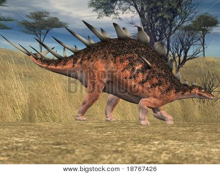 kentrosaurus in savanna