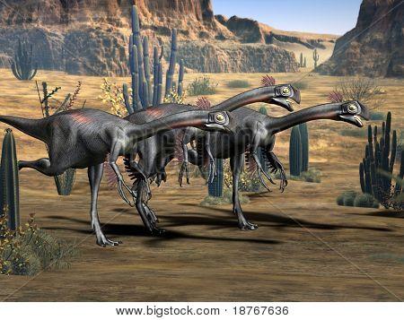 group of running gigantoraptors