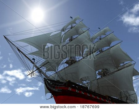 tall ship with sails low angle shot