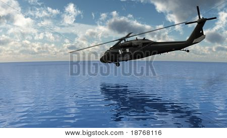 helicopter over the water