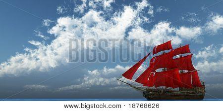 la nave en el mar