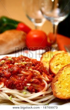 plate of delicious spaghetti with tomato sauce