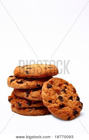chocolate chip cookies on white