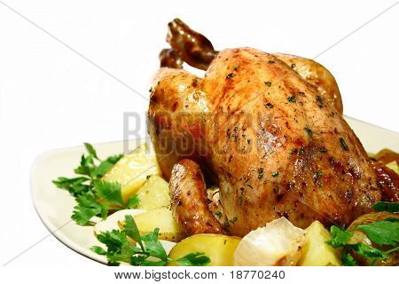 roasted chicken with herbs, isolated on white