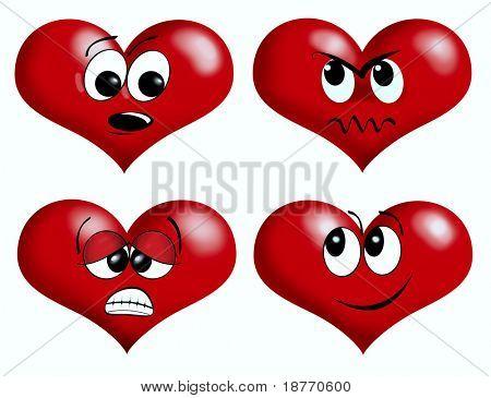 illustration of valentine heart emotion icons