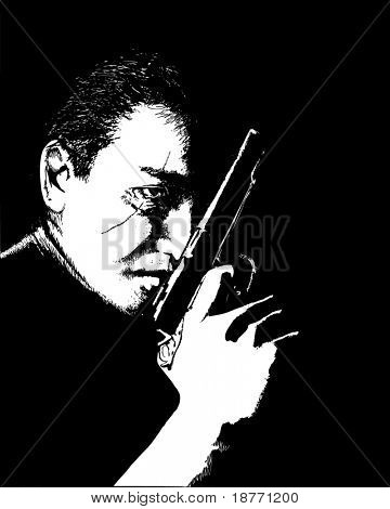 vector illustration of a scarfaced man with a pistol
