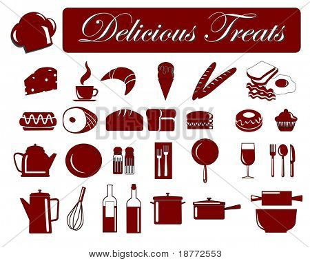 vector illustration of assorted food icons