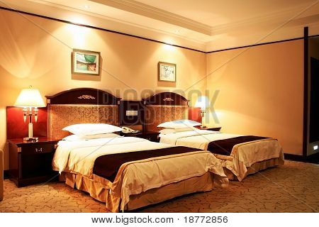 interior of a hotel room in warm tone