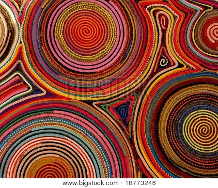 Colored rings of felt on a carpet