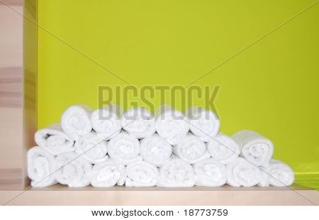 Folded towels in a spa