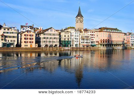 View of the old town of Zurich