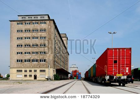 Factory with cargo container train