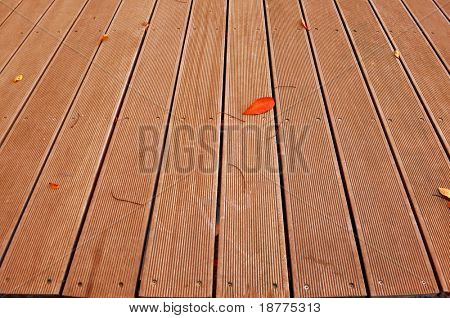 Wooden boardwalk with some autumn leaves