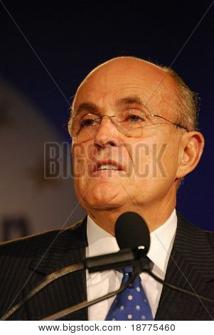 "WASHINGTON DC – OCT 20: Former New York Mayor Rudy Giuliani speaking at ""Washington Briefing 2007: Values Voter Summit"" on October 20, 2007, at the Hilton Hotel in downtown Washington DC."
