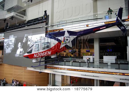 Bell 206B Jet Ranger III helicopter from KKAS-TV in Newseum atrium in Washington DC