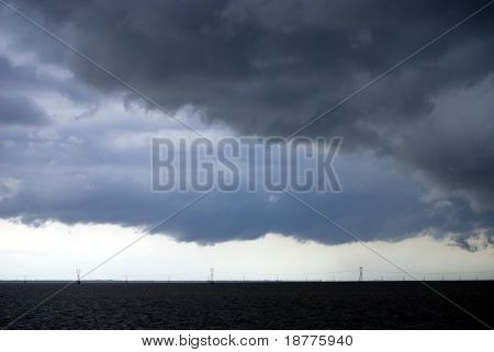 NEW ORLEANS - AUG 31: Storm clouds of Hurricane Gustav move over Lake Pontchartrain on August 31, 2008 in New Orleans.
