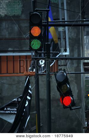 NEW ORLEANS - SEPT 1: A traffic light hangs from a power cable after it was broken due to Hurricane Gustav winds on September 1, 2008 in New Orleans.