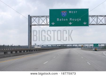 NEW ORLEANS - SEPT 2: An empty Interstate 10 freeway leading to Baton Rouge is shown on September 2, 2008 in New Orleans.  Hurricane Gustav did not inflict major damage to the area.