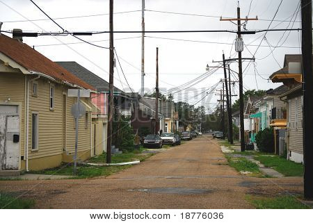 NEW ORLEANS - SEPT 1: An empty street with power lines at corner of Harmony and Chippewa is shown during Hurricane Gustav on September 1, 2008 in southern New Orleans.