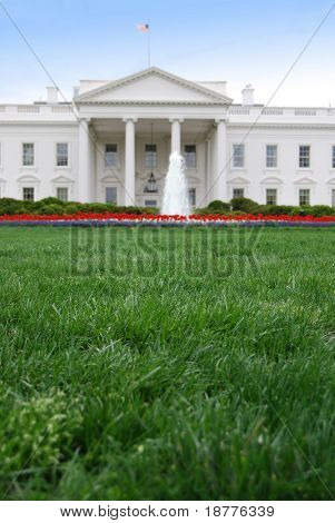Closeup of the front lawn of the White House in Washington DC