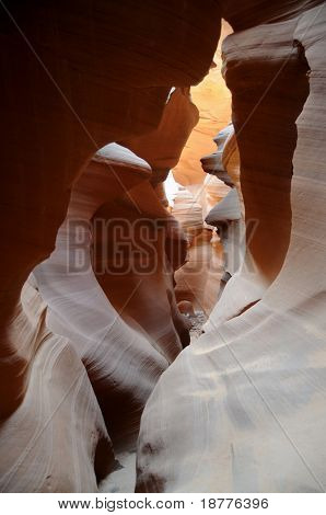 Magical colors of the narrow Lower Antelope Canyon, created by flash floods, near Page, Arizona