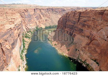 Colorado River running below the Glen Canyon dam, near Page in Arizona