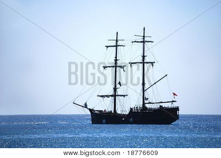 Traditional pirate ship in the Caribbean waters