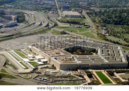 Aerial of the Pentagon, the Department of Defense headquarters in Arlington, Virginia, near Washington DC