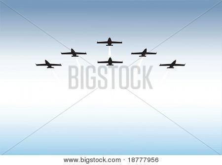 Illustration of jets flying in formation with copy space. Available as vector or .jpg