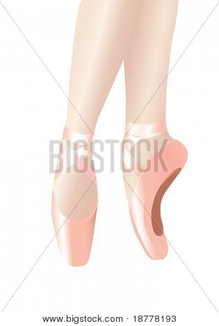 Vector illustration depicting the legs of a ballerina on her toes. Isolated on white.