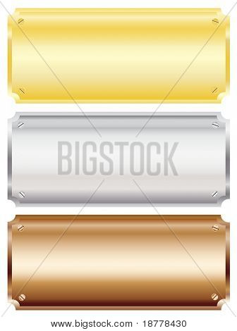 Illustration of blank metal wall  or door plaques in brass, silver and copper with copy space. Isolated on white background.