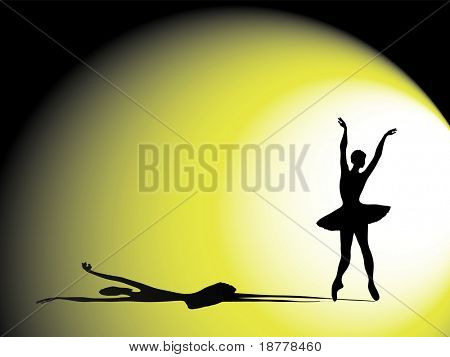 An illustration of a ballerina on stage. Silhouette with dramatic shadow and lighting