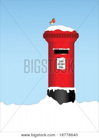 A vector illustration of a traditional post box in the snow with a robin perched on top.