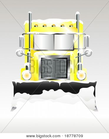 A vector illustration of a snow plough clearing heavy snowfall