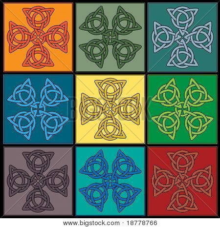 A vector  tile created of colourful Celtic Knot Crosses