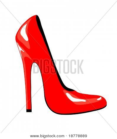 An illustration of a sexy high-heeled red shoe isolated on white background