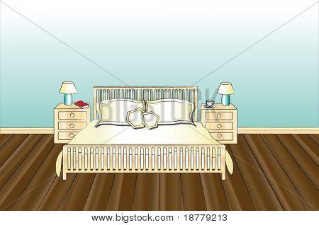 Una ilustración del vector de un dormitorio con espacio para texto