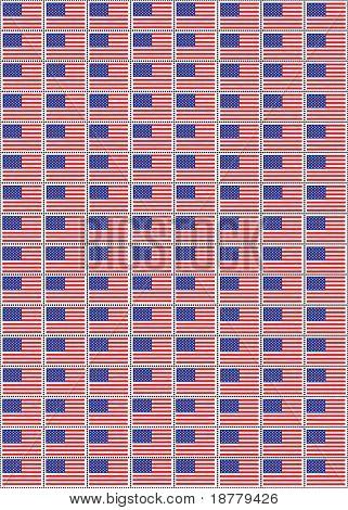 Eine Vektor-Illustration eines Blatts Briefmarken mit der USA-Flagge