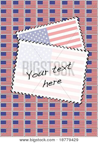 Eine Vektor-Illustration eines Blatts Briefmarken mit der USA-Flagge. Platz für Ihren Text.