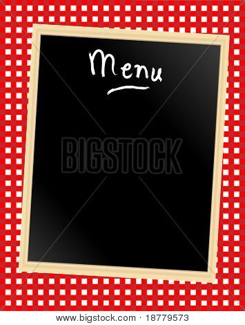 A menu card chalkboard on gingham background. Space for text.