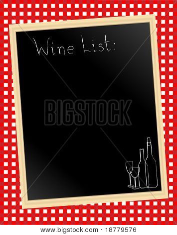A vector illustration of a wine list chalkboard on gingham background