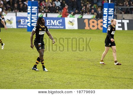 LONDON - MAY 1: Paul Sackey and Joe Simpson. London Wasps v Cardiff Blues, semi finals of the Amlin Challenge Cup. 1st May 2010 in London