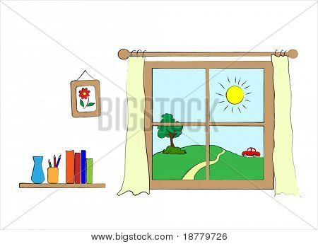 A children's style drawing of a wall with window to the outside. Vector format.