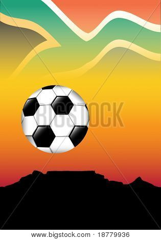 South Africa football concept. Table Mountain, Cape Town, silhouetted against an African sky with football. Space for text
