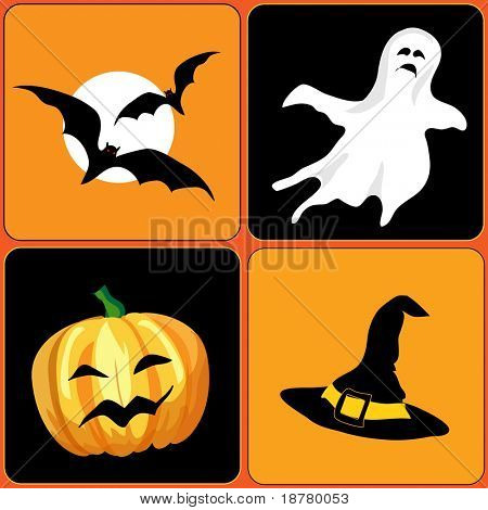 A vector illustration of Halloween elements