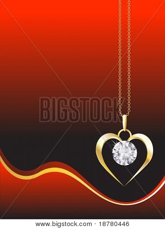 A diamond heart pendant on gold chain against red, abstract background. Space for your text. EPS10 vector format.